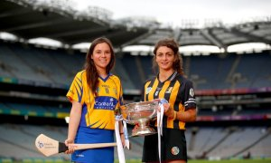 Clare's Orlaith Duggan and Anna Farrell of Kilkenny Mandatory Credit ©INPHO/James Crombie