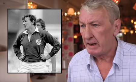 Willie Duggan, inset pictured for Ireland (via Leinster Rugby/Twitter) and more recently at Willie Duggan Lighting (screengrab/YouTube)