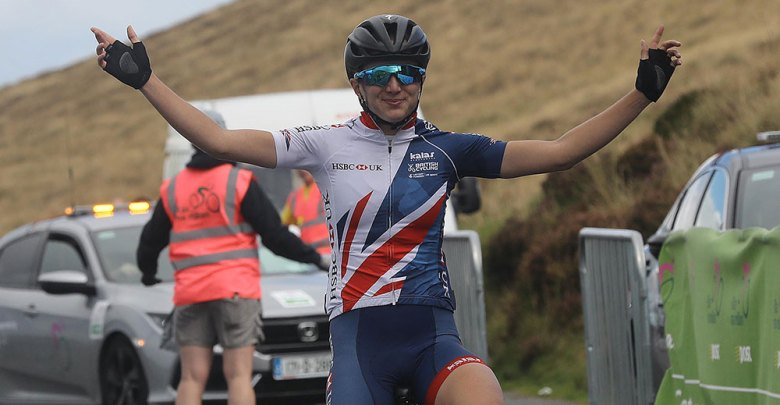 Elinor Barker of the Great Britain team wins Stage 3 of An Post Ras na mBan 2017. Pic : Lorraine O'Sullivan