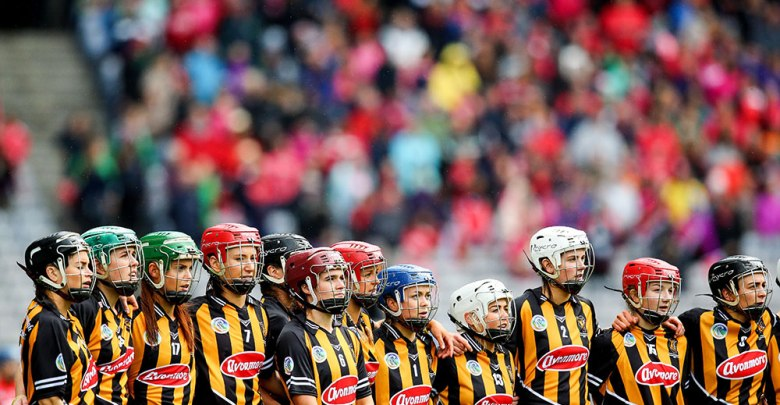 The Kilkenny team stand for the national anthem Mandatory Credit ©INPHO/Gary Carr