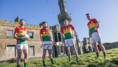 Carlow hurlers and footballers outside Duckett's Grove