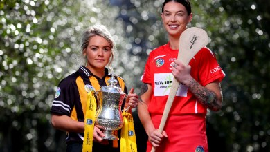 Kilkenny's Shelly Farrell and Cork's Ashling Thomspon. Photo: ©INPHO/James Crombie