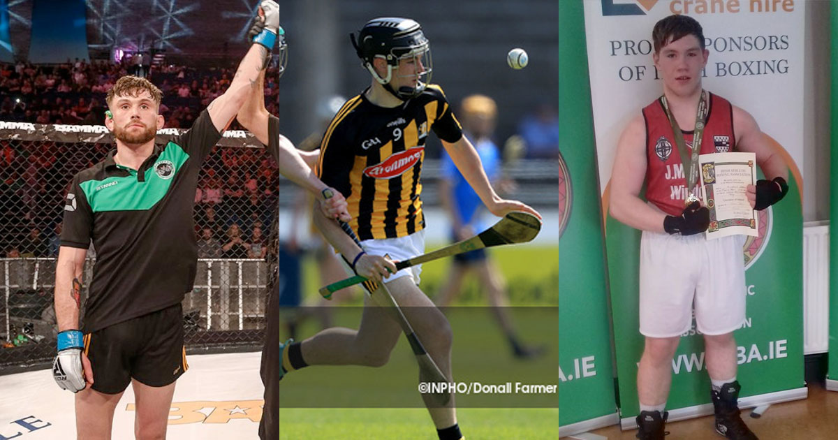 L-R: Myles Price (pic: BAMMA), Conor Kelly (pic: Inpho) and Curtis Darcy are May's nominees for the Kilkenny Sport Star Award.