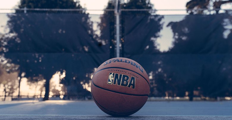 An NBA branded basketball. Photo: Edgar Chaparro