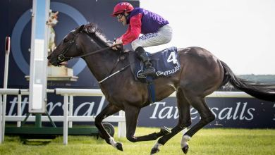 Romanised and Shane Foley win the Group One Tattersalls Irish 2000 Guineas at the Curragh in May 2018 Photo: Patrick McCann