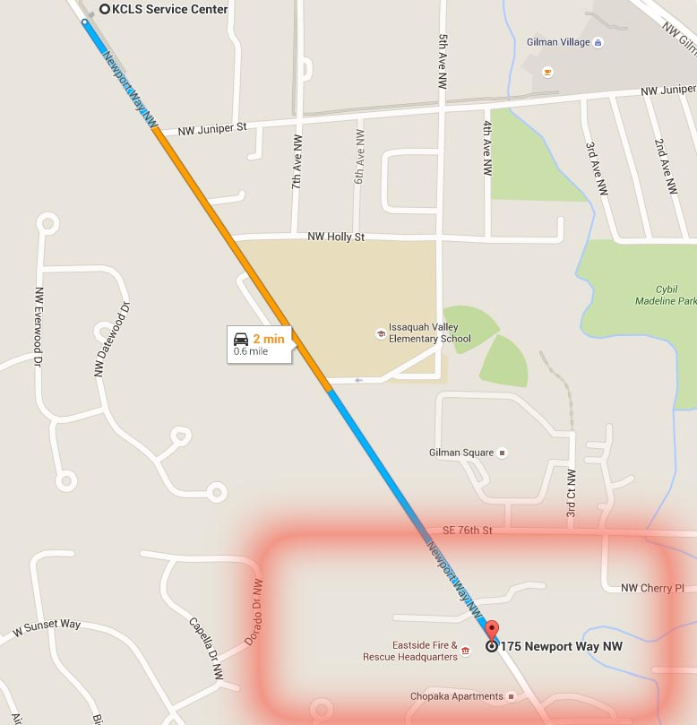 Map directions from Service Center to Eastside Fire and Rescue