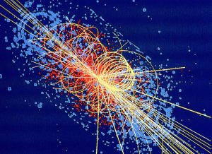 Protons collide at 14 TeV in this simulation from CMS, producing four muons. Lines denote other particles, and energy deposited is shown in blue. Don't try this at home. (CMS)