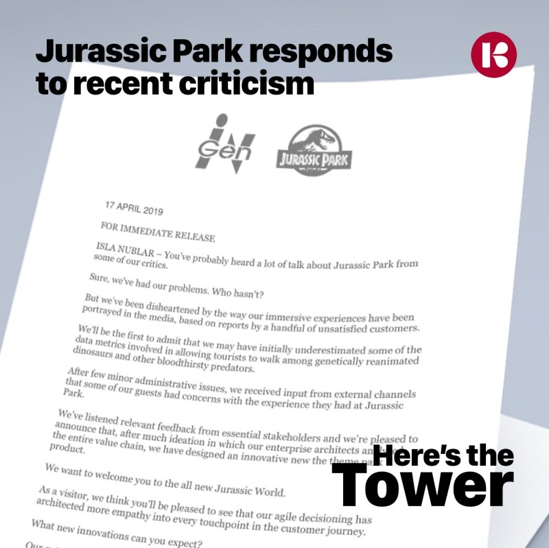 Here's the Tower Jurassic Park Responds to Recent Criticism