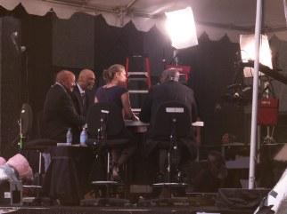 Kareem Abdul-Jabbar and Jim Brown reflect near the memorial service.