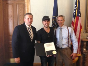 From left to right: Utah State Senator Todd Weiler, runner Landon Cooper, and Salt Lake City Mayor Ralph Becker.