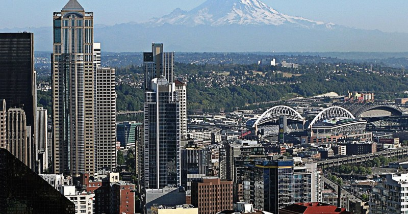 Seattle with Mt. Ranier in the background