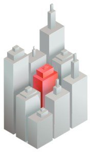 Graphic of skyline with one building highlighted to represent programmatic ip targeting