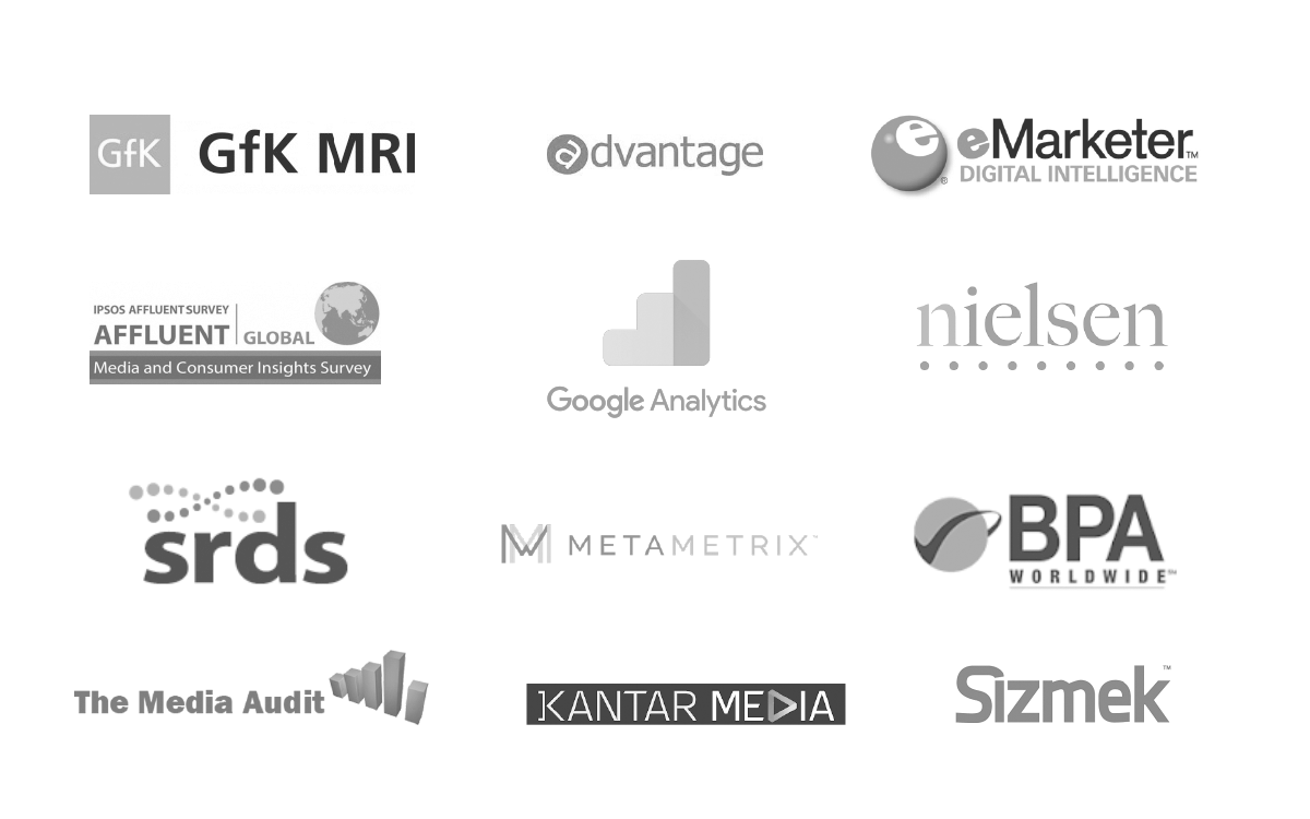 logos of media audience targeting tools and other agency capabilities