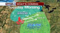 Track #1 puts snow in far northern - northwestern Missouri and especially Nebraska to Iowa. Wrap around mix to snow ends Track #1 into Kansas City with only light accumulation. Track #2 puts heavy snow into a good chunk of our area