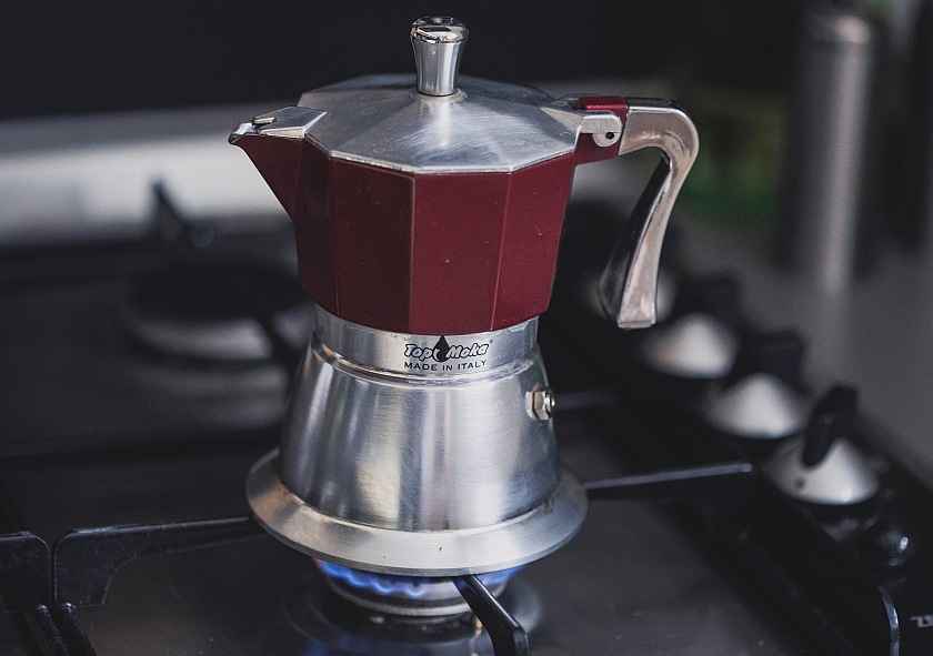Moka pot on gas stove