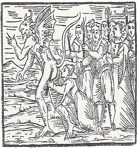 A woodcut in black-and-white with a devil's ass being kissed by a woman