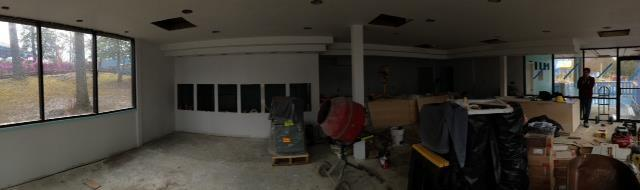 Panorama of the inside. You can see where the yogurt dispensers will be.