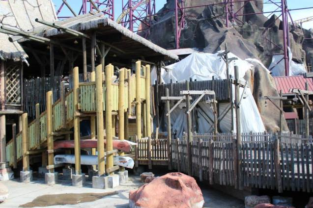New outside structure and some plastic covering part of the mountain
