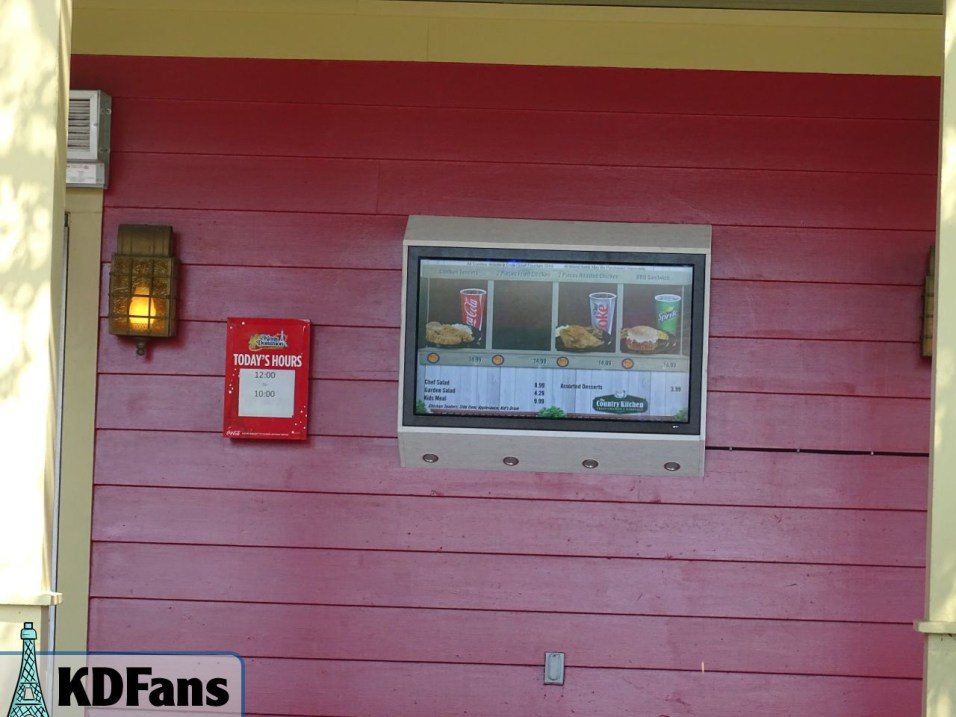 TV menu on the Country Kitchen