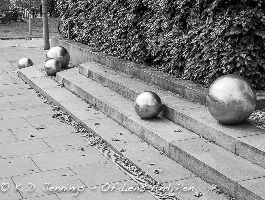 Metal Balls Decorating Pavement In Hamburg