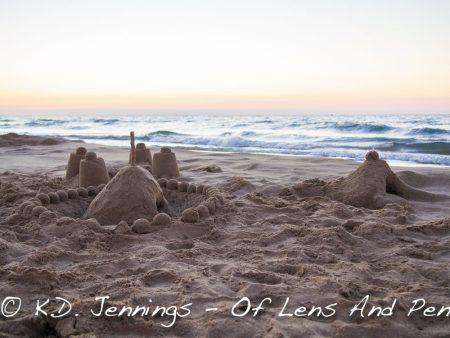 Gruissan Beach Sea Sand Castel at Sunrise Aude South of France