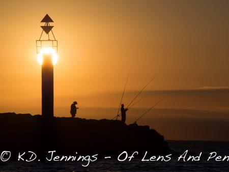 Gruissan Beach Sea Lighthouse Fishermen at Sunrise Aude South of France
