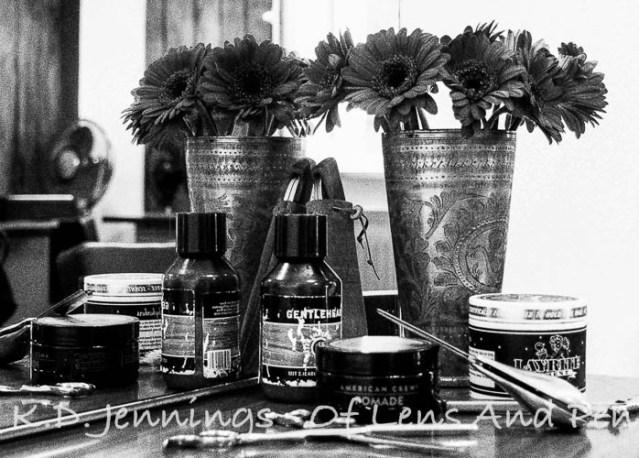 Black and white impression of hair salon