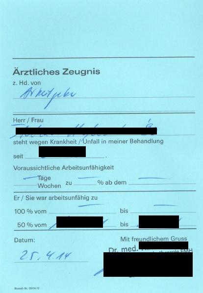 Surat doktor yang berwarna biru.