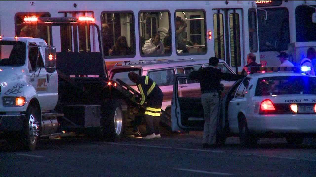 A Light Rail train hit a car at Kalamath and Speer in downtown Denver