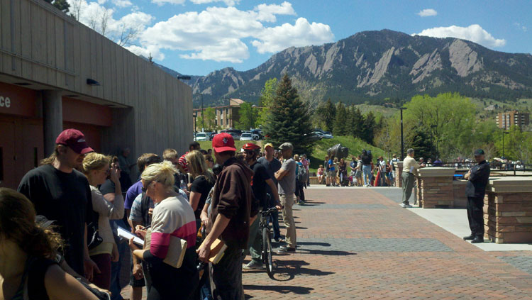 People wait in a long line for tickets to President Obama's speech in Boulder. April 23, 2012