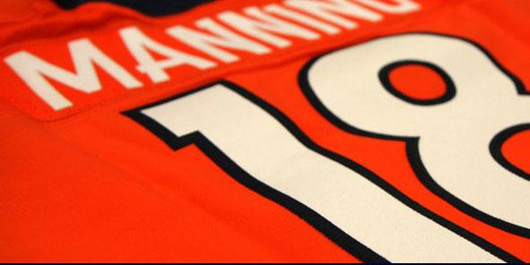 Peyton Manning's #18 Broncos jersey. Image from Denver Broncos blog
