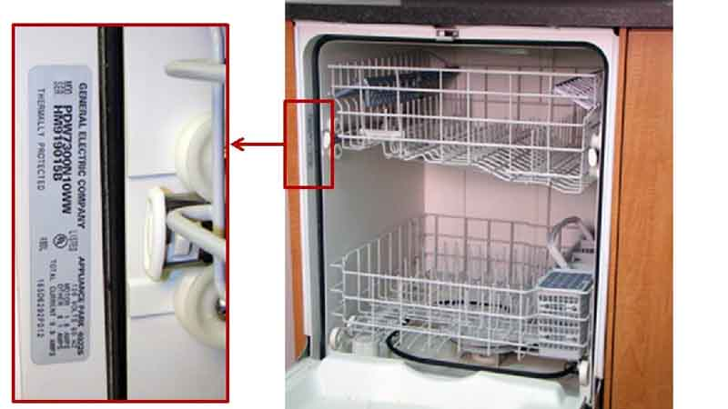 Locate the serial and model number to find out if your GE dishwasher has been recalled.
