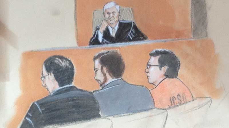 Austin Sigg and his two defense attorneys appear at a motions hearing on March 12, 2013. (Sketch: Jeff Kandyba)