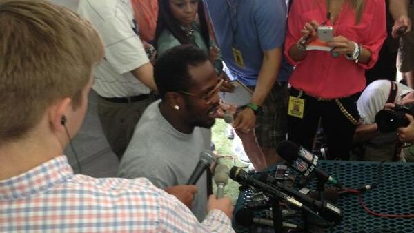 Von Miller addresses the media at a Denver Broncos media luncheon on July 24, 2013.