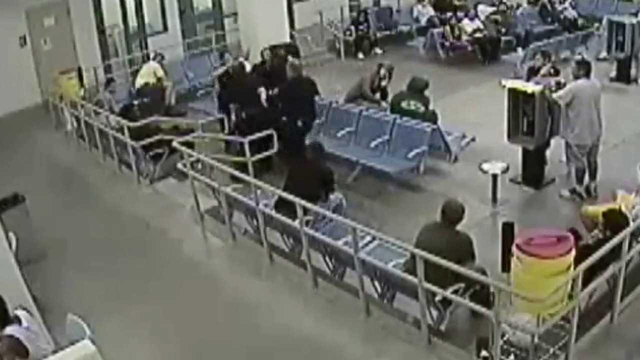 Surveillance video of Denver deputies struggling with Marvin Booker in July 2010