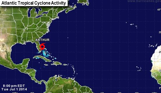 Tropical Storm Arthur. Courtesy: NOAA/National Hurricane Center