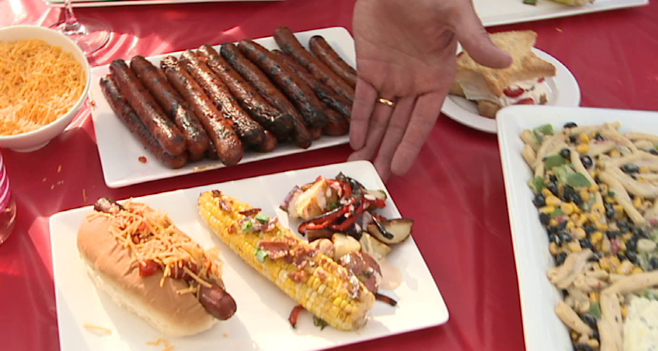 Firecracker Franks, Bacon Butter Corn on the Cob and Patriotic Salad