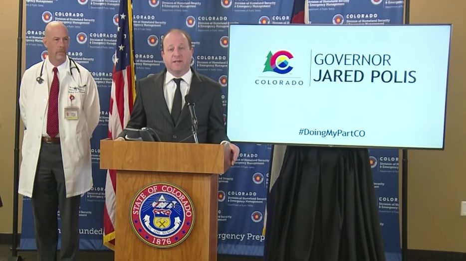 Colorado Gov. Jared Polis holds a news conference on COVID-19 in Colorado on March 30, 2020.