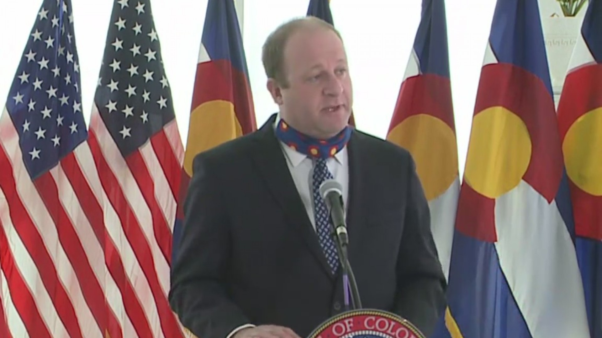 Gov. Jared Polis holds a news conference on COVID-19 in Colorado, on April 15, 2020.