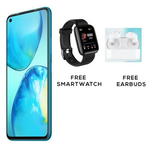 "Note 8i, 6.95"", 128GB + 4GB (Dual SIM), Blue +Free Smartwatch & Earbuds"