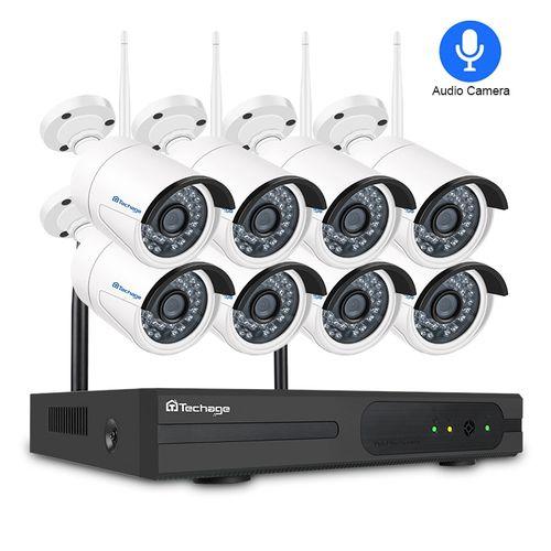 Techage 8CH Audio Sound Wireless CCTV Security System 1080P 2MP Wifi NVR Waterproof Camera P2P Video Surveillance Kit 3TB HDD(4T)