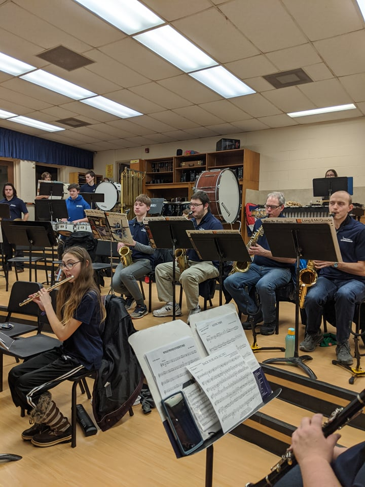 band rehearsal in a school classroom