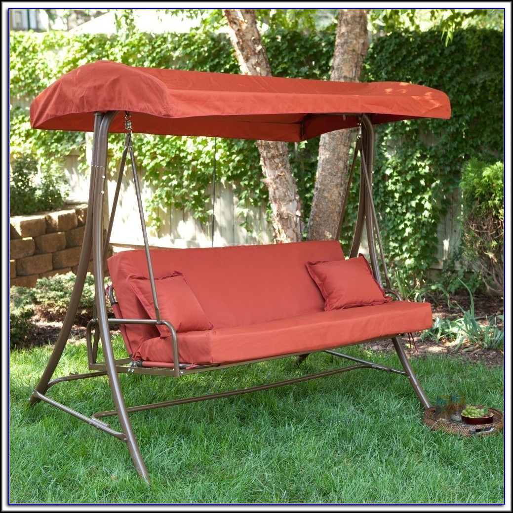 3 Person Patio Swing With Adjustable Canopy