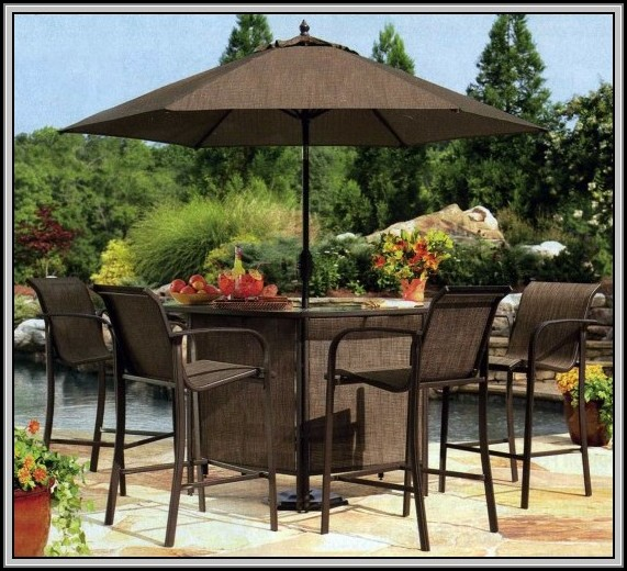 Bar Height Patio Set With Umbrella