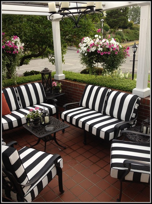 Black And White Patio Cushions