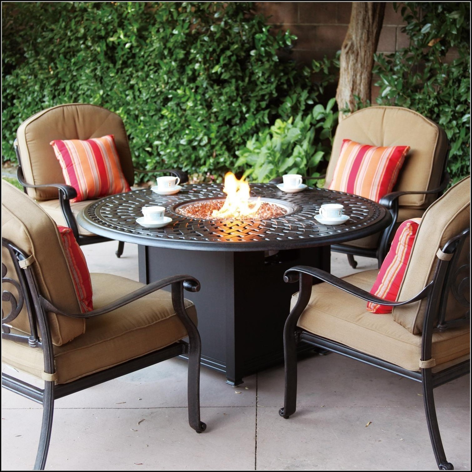 Cast Aluminum Patio Table With Fire Pit