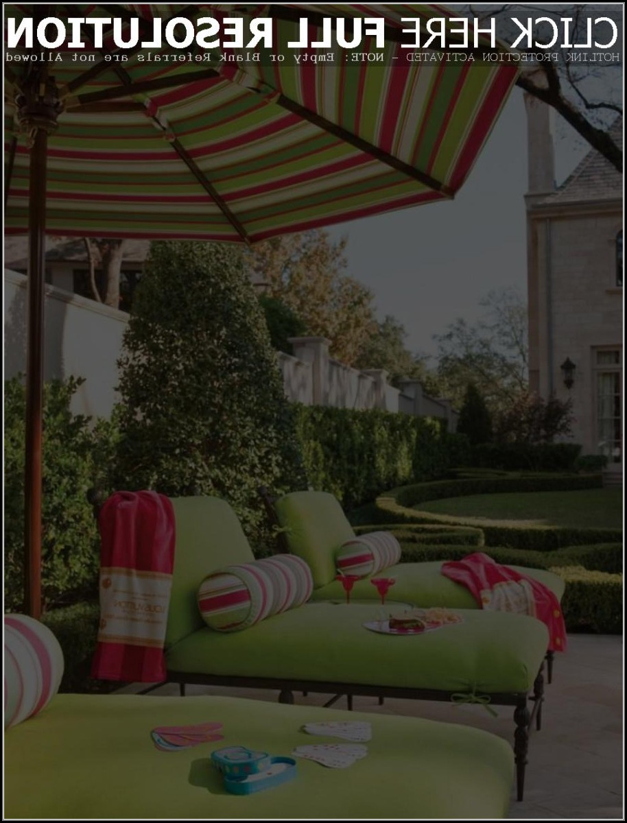Green Striped Patio Umbrella