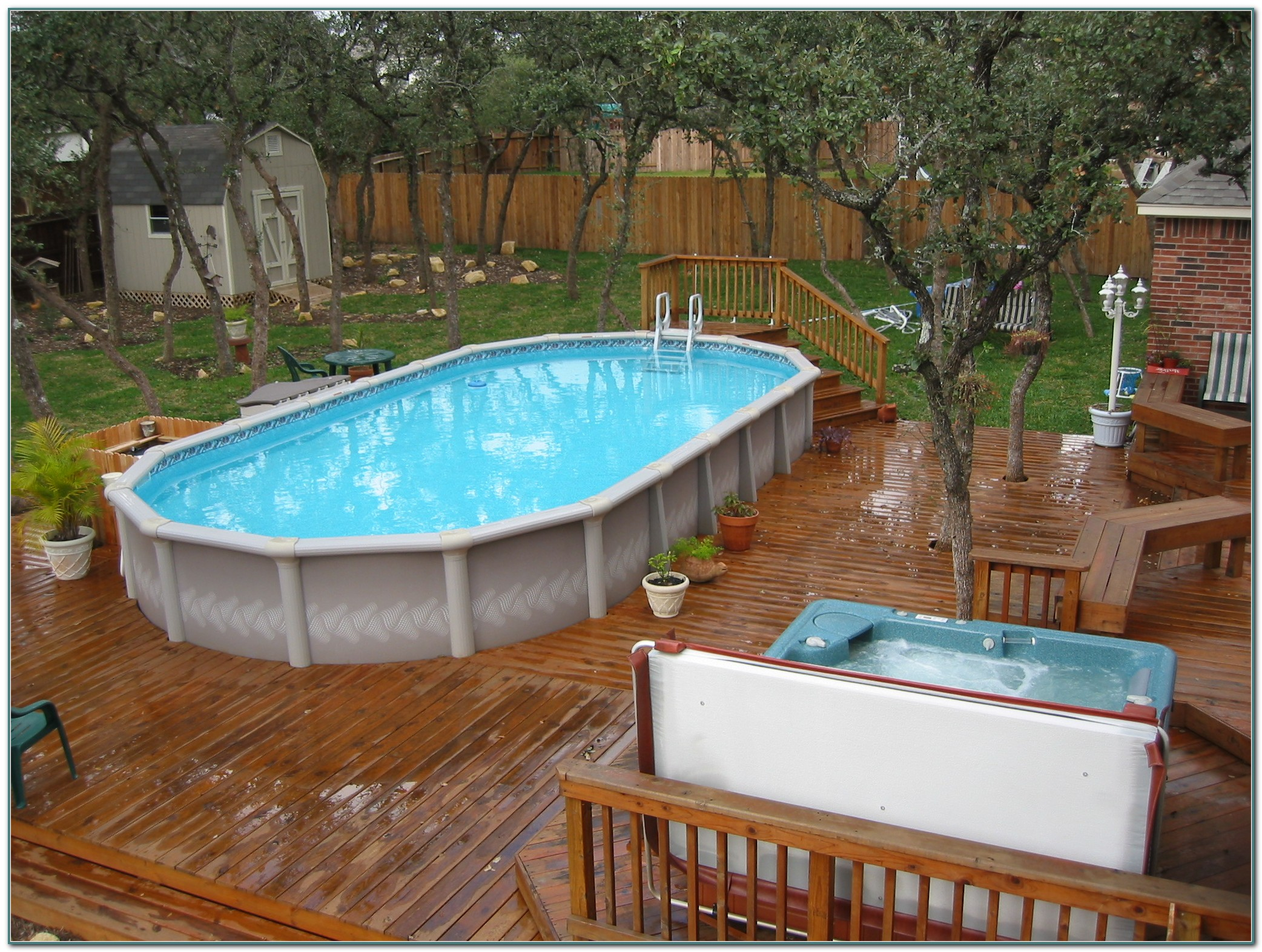 Oval Above Ground Swimming Pools With Deck