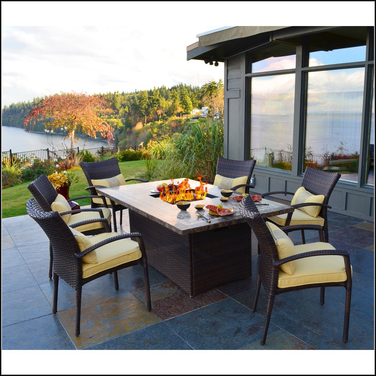 Rectangle Patio Table With Fire Pit