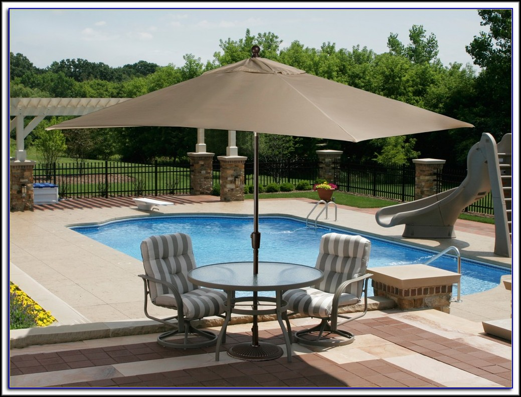 Rectangle Patio Umbrella With Lights